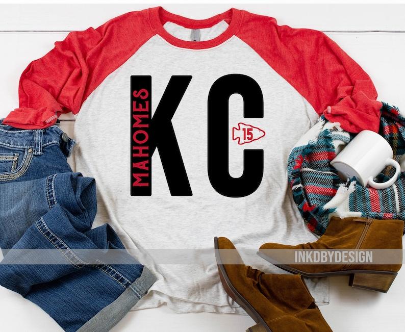 wholesale dealer a0e75 329d3 Distressed KC Mahomes| Kansas City Shirt | Chiefs Shirt | Women's Christmas  Gift| Mahomes Baseball Style 3/4 Sleeve-Multiple Color Options
