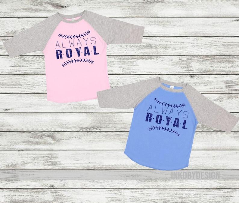 NEW Kansas City Royals Baseball T-Shirt Royal Blue White 3//4 Sleeve Mens Shirt