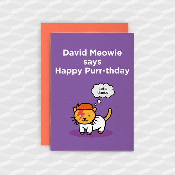 David Bowie Birthday Cardscat Birthday Cardsdavid Bowie Etsy