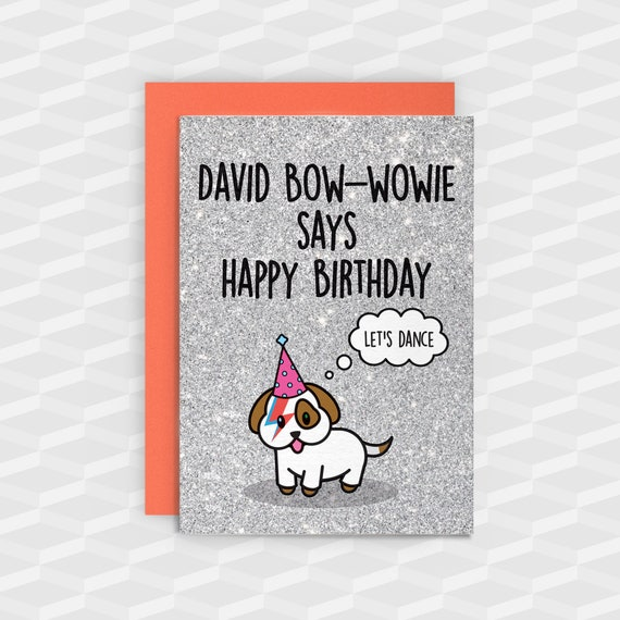 David Bowie Birthday Carddog Birthday Cardsziggy Etsy