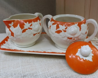 Orange & Cream Hand Painted Japan ceramic Sugar and Creamer w Tray set Vintage