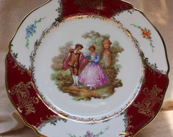 """Pink/Gold J C Limoges France Plate dancing Couple""""Rehaussee Main"""""""