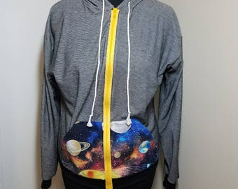 Women's Zip Hoodie, Black/White with Galaxy Pocket