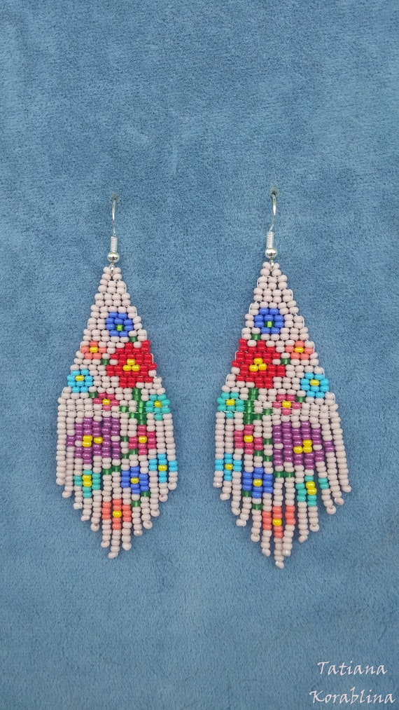 Author/'s beaded earrings evening Native earrings Seed bead earrings chandelier earrings beige green earrings  Beadwork Fringe earring unique
