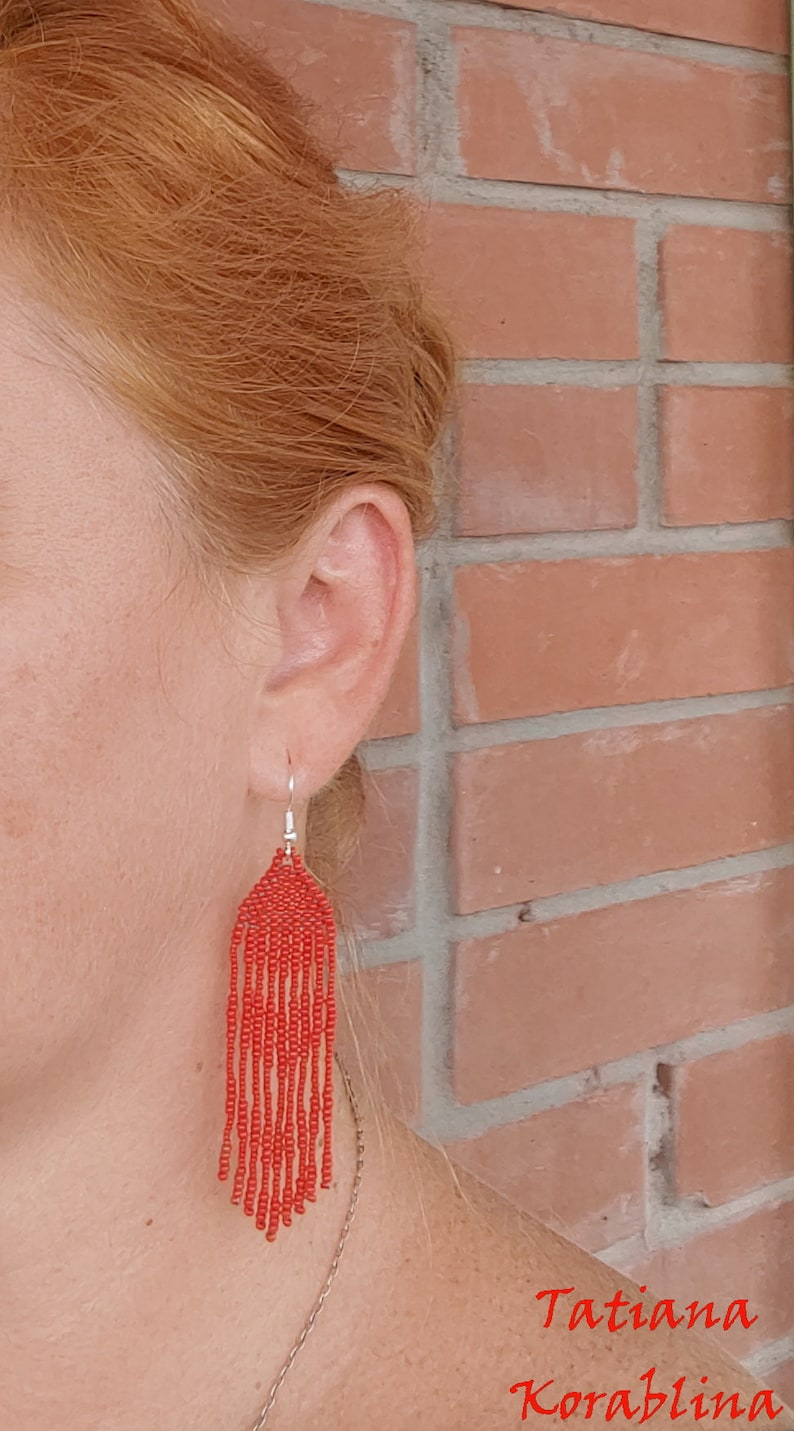 Author/'s beaded earrings evening Seed bead earring Beadwork Fringe earring abstraction minimalism heart red lace beaded earrings for wedding