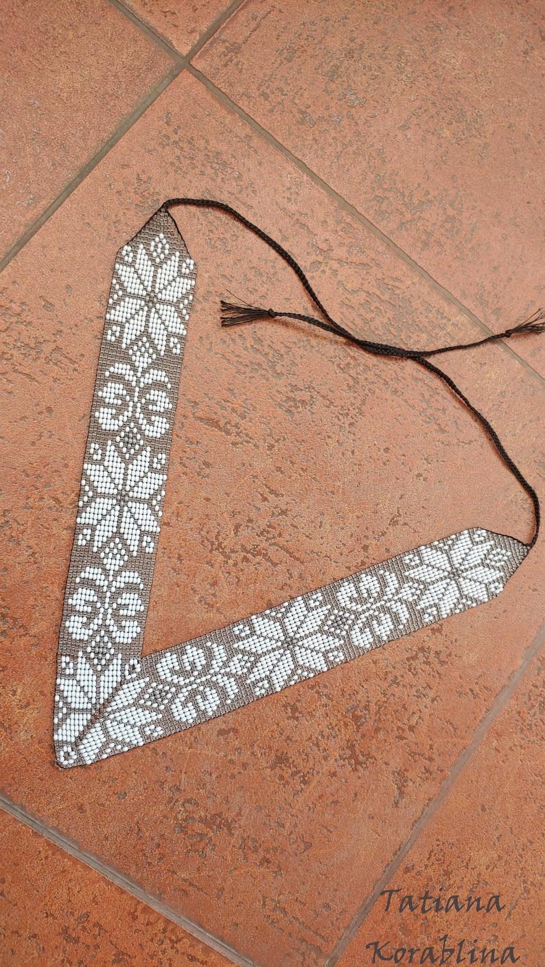 Necklace Beaded necklace slavic white necklace Long necklace black gray necklace Beaded jewelry Birthday gift boho boutique Angular necklace