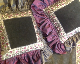 Decorative pillows and tablecloths, velvet, taffeta, organza trimmings