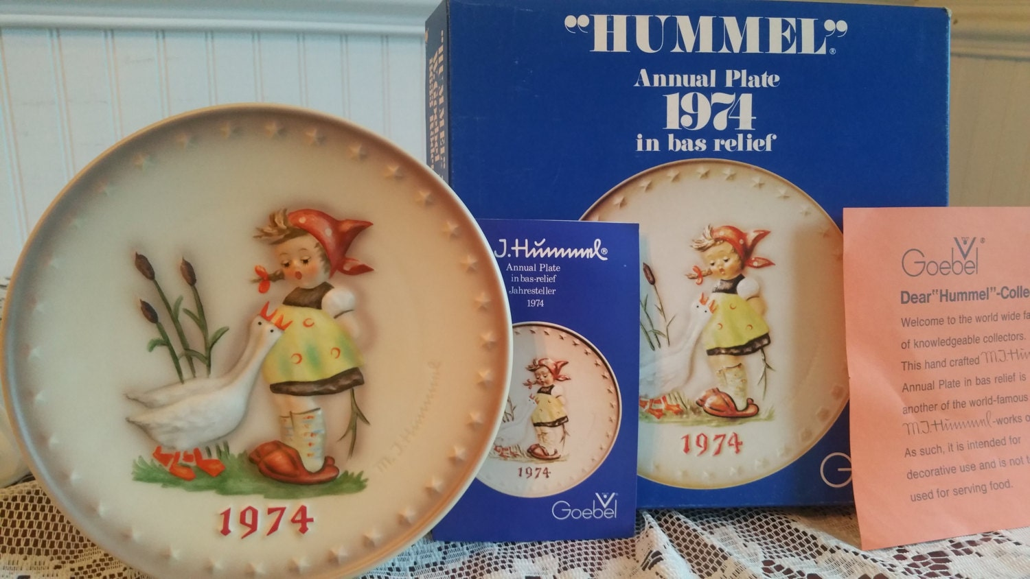Free us shipping vintage 1974 hummel annual plate goose girl hand painted 7 5 inch goebel hum 267 4th edition