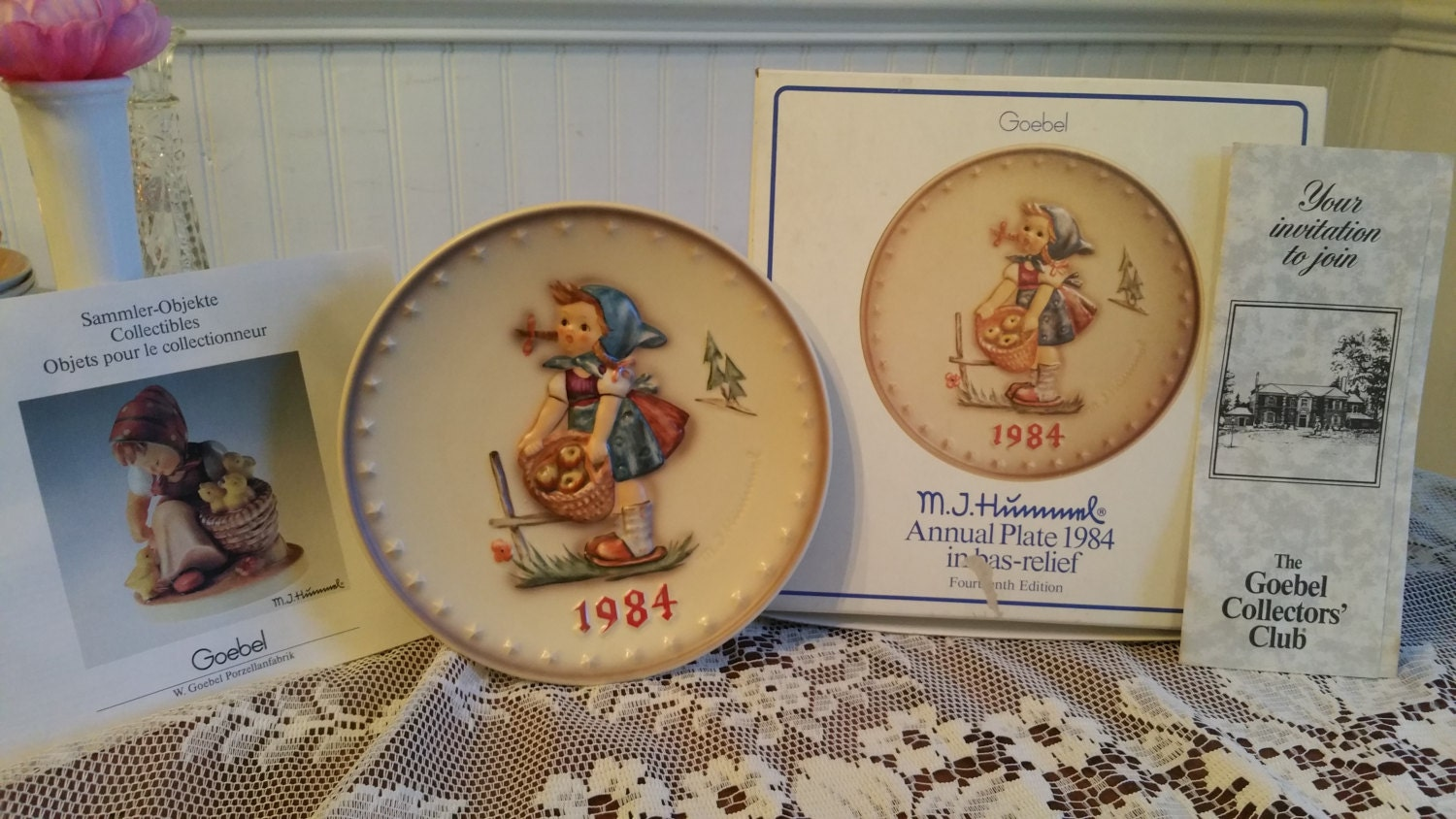 Free us shipping vintage 1984 hummel annual plate little helper hand painted 7 5 inch goebel hum 277 14th edition
