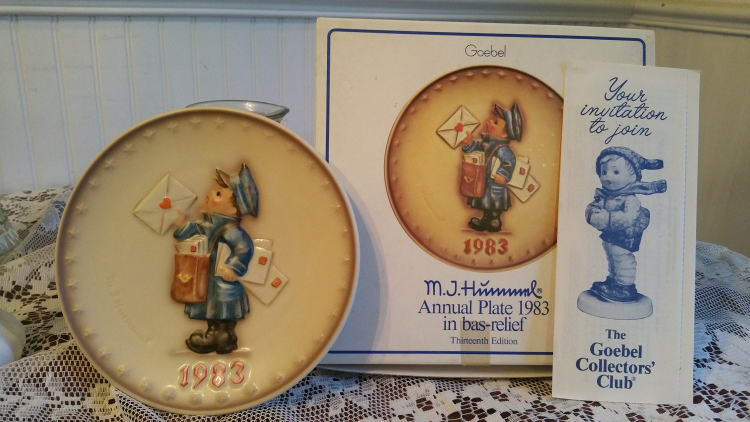 Free us shipping vintage 1983 hummel annual plate postman hand painted 7 5 inch goebel hum 276 13th edition