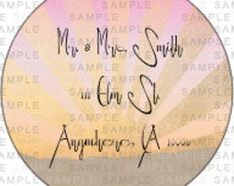 Sunset Background 2 Inch Circle Address Label-Sunset Background Address Labels-Circle Address Labels-Circle Return Address Labels-Sunset
