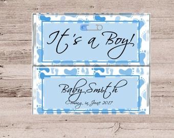 It's A Boy Chocolate Wrapper-It's A Boy Candy Bar Wrapper-Birth Announcement Chocolate Bar-Baby Shower Favor-Baby Shower Candy Bar Wrapper