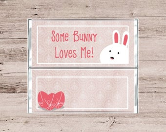 Easter Chocolate Bar Wrapper-Easter Candy Bar Wrapper-Holiday Chocolate Bar Wrapper-Holiday Candy Bar Wrapper-Some Bunny Loves Me Wrapper