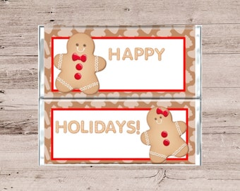 Gingerbread People Chocolate Bar Wrapper-Gingerbread Pepople Candy Bar Wrapper-Holiday Candy Wrapper-Christmas Candy Bar Wrapper-Candy Bar