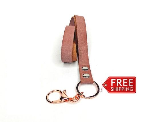 Hook long lanyard Rose Neck lanyard Leather key strap Leather key chain Pink leather lanyard Key holder ID badge holder ID holder