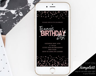 Electronic Invitation Birthday 21st Party Text Message Invite Rosegold Sparkle Editable IPhone
