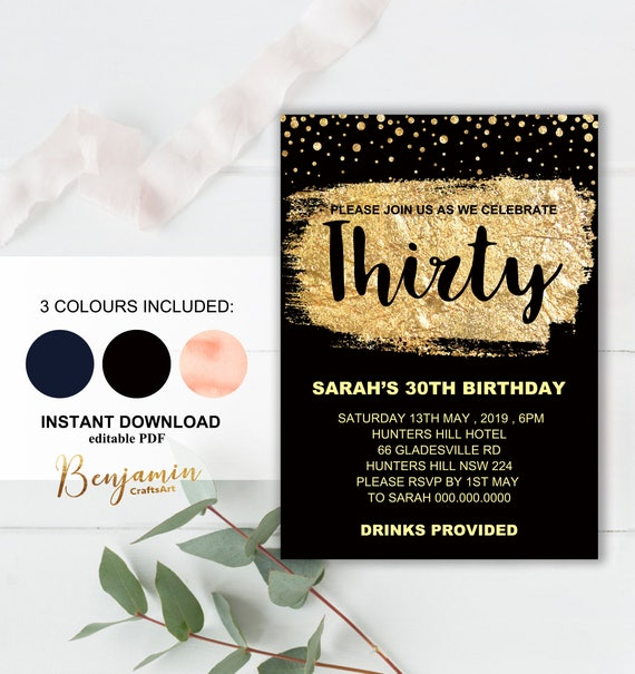Glitter Gold 30th Birthday Invitation Printable Template
