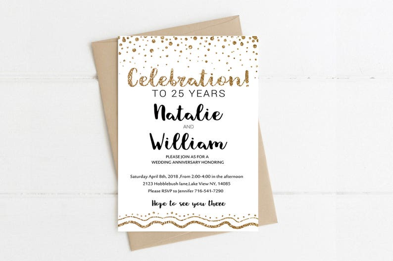 Anniversary Invitations Template Gold Rustic Surprise Wedding Party Printable Vow Renewal Instant Download 25th 50th