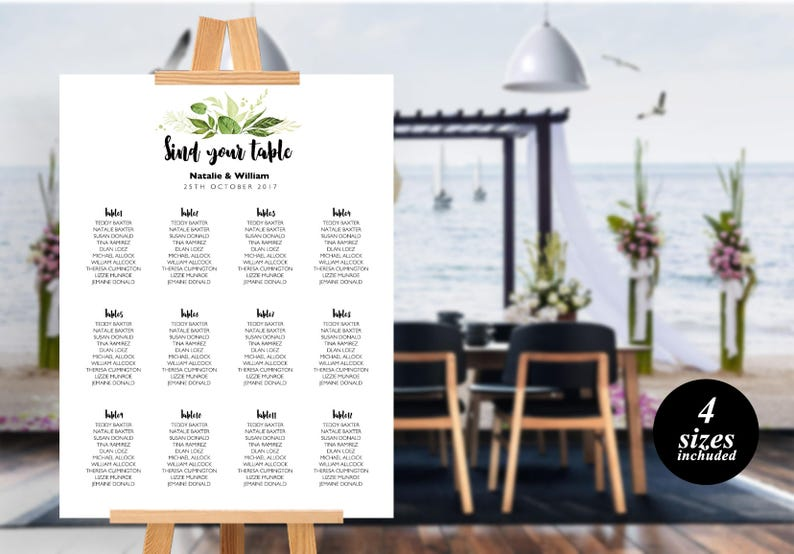 Floral Wedding Seating Chart Template printable seating chart Seating Chart Template Find your seat sign PDF Instant Download