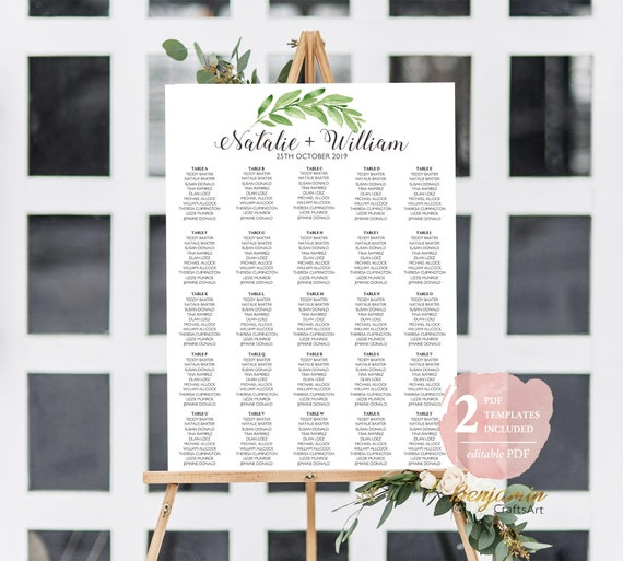 Template Seating Chart Template Wedding Seating Plan Seating Chart Wedding Greenery Wedding Seating Chart 250 People