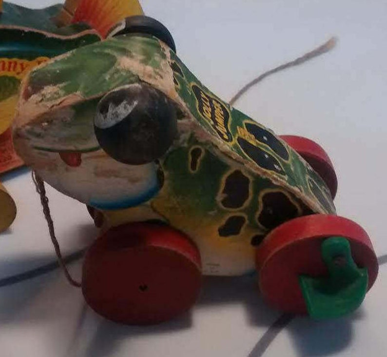 54f908b11545 1950s Fisher Price Jolly Jumper Croaking Frog 450 Pull Toy
