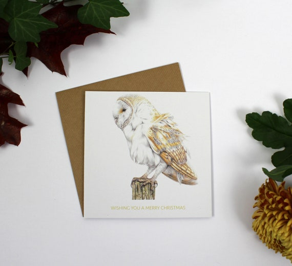 Barn Owl Christmas Card, Greeting Card, Cards, Birthday Card, Wildlife Art, Owl, Bird