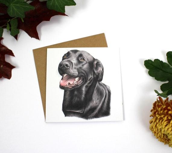 Gunner Greeting Card, Greeting Card, Cards, Birthday Card, Wildlife Art, Dog, Black Labrador