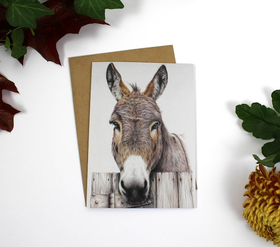 Any Room at the Inn? Christmas Card, Greeting Card, Cards, Birthday Card, Wildlife Art, Donkey