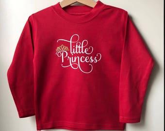 Little Princess Red/White/Gold Long Sleeve T-shirt