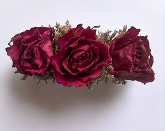 Dried Pink Rose Hair Clip, hair accessory, dried flowers, hair flowers, wedding flowers, barrette clip, destination wedding, christmas