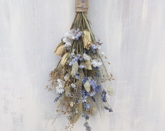Dried Flower Wall Hanging Cool Tones, dried flowers, wedding decor, home decor, flower bunch, flower arrangement, rustic, boho, country