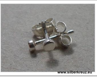 Mini stud earrings. Point. -- Silver 925 3 mm