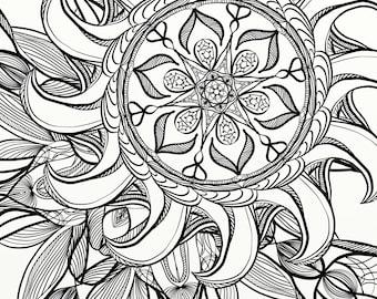 Coloriage Adulte Spirale.Nuit Etoilee Van Gogh Mandala Coloriage Adulte Imprimable Etsy