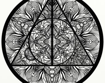 Harry Potter Deathly Hallows Inspired Adult Coloring Mandala Printable Page