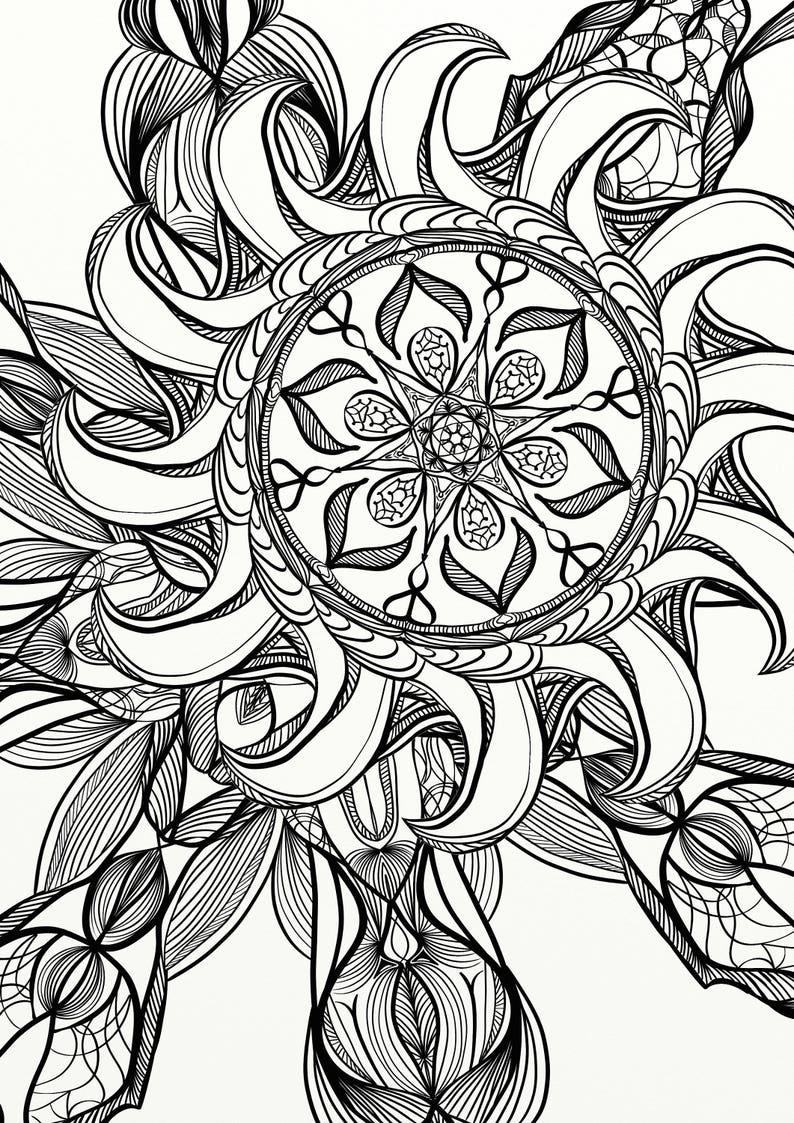 Coloriage Adulte Spirale.Mandala Spirale Detente Coloriage Adulte Etsy