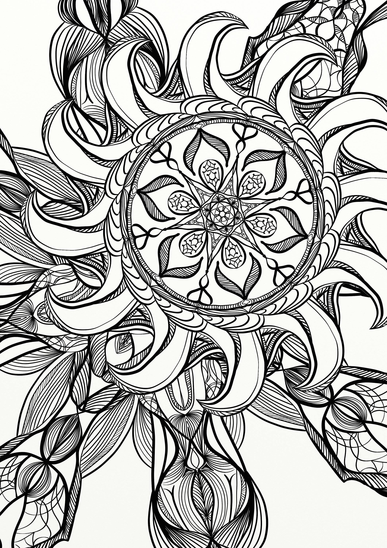 Mandala-Spirale entspannen Erwachsene Malvorlagen | Etsy