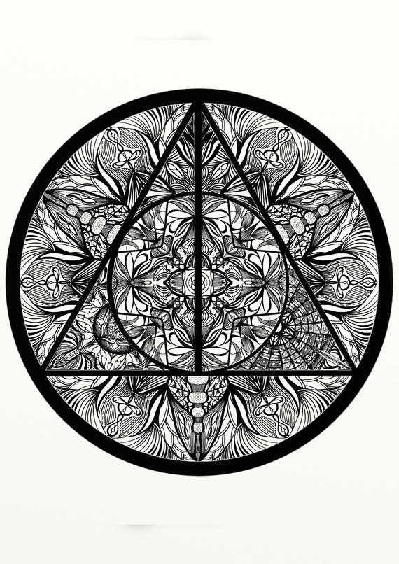 Harry potter deathly hallows inspired adult coloring for Mandala facili da disegnare