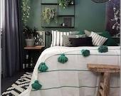 Moroccan pompom blanket King Bed size.
