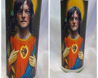 Saint Daryl Dixon prayer candle Walking Dead