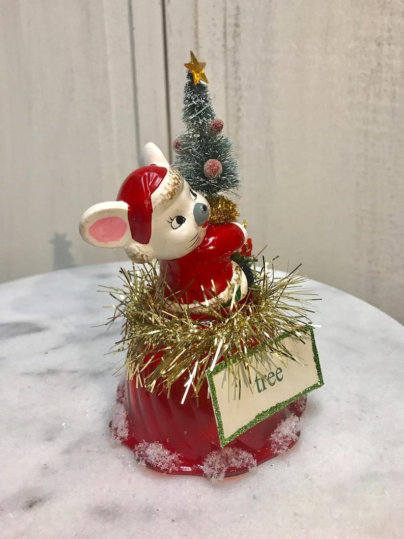 cake topper hostess vintage mouse tree sign vintage package vintage dessert cup bottle brush tree Centerpiece,vintage Christmas mouse