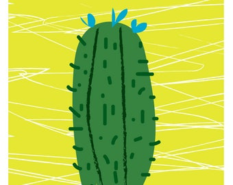 UNFRAMED - cactus print green  by Rachael Partis Design