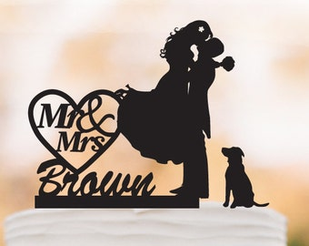 Mr And Mrs Wedding Cake topper with dog,  groom kissing bride with personalized name cake topper. unique wedding cake topper, topper wit pet