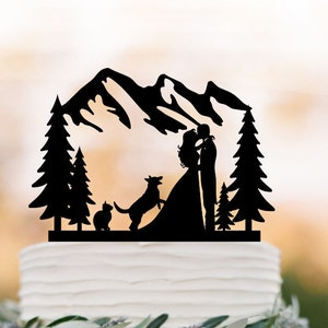 Outdoors Wedding Cake Topper Mountain With Dog Cake Topper Etsy