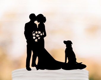 groom kissing brides forehead silhouette Wedding Cake topper with dog, funny wedding cake decor people