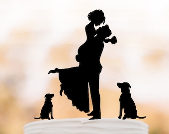 Unique Wedding Cake topper 2 dogs, Cake Toppers with Groom lifting bride, funny wedding cake toppers silhouette, two dog cake topper