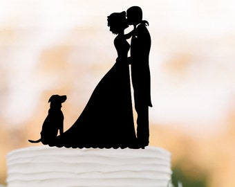 groom kissing bride silhouette Wedding Cake topper with dog, funny wedding cake decor people figurine silver and gold mirror available