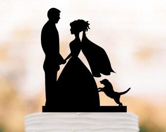 Figurine Wedding Cake topper dog, Bride and groom silhouette wedding cake topper of people. wedding cake decoration. unique cake topper