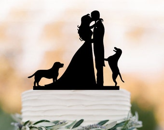 Wedding Cake topper with dogs.  Funny Cake Topper, bride and groom silhouette cake topper,  unique wedding cake top decoration
