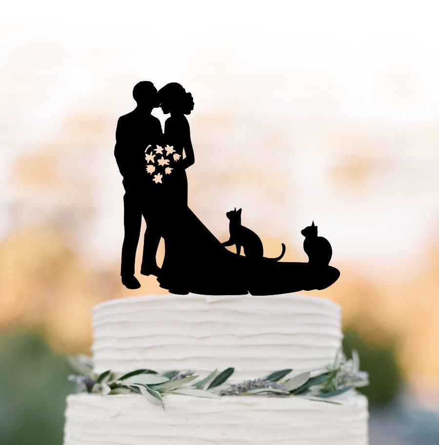Bride And Groom Wedding Cake Topper With Two 2 Cats Bride