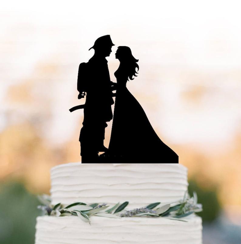 Fireman Firefighter Black Silhouette Acrylic Romantic Kiss Wedding Cake Topper
